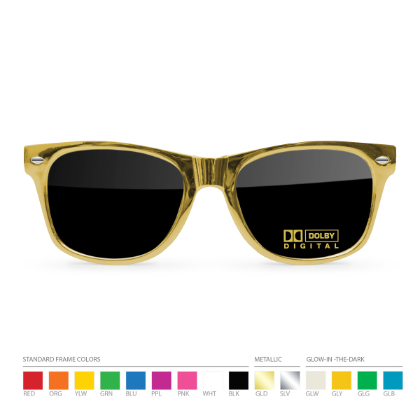 Customized Gold Wayfarer Sunglasses with Silk Lens Imprint
