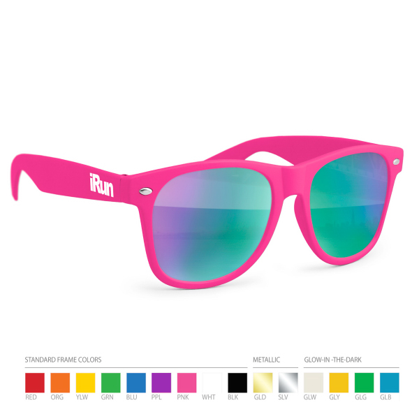 Printed Cool tone Mirror Wayfarer Sunglasses with Side Imprint