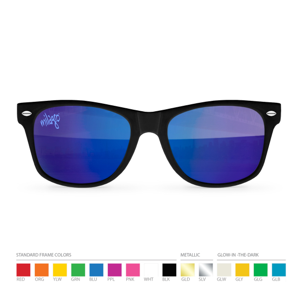 Imprinted IndigoTone Mirror Wayfarer Sunglasses with Silk Lens Imprint