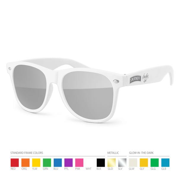 Customized Silver tone Mirror Wayfarer Sunglasses with Side Imprint