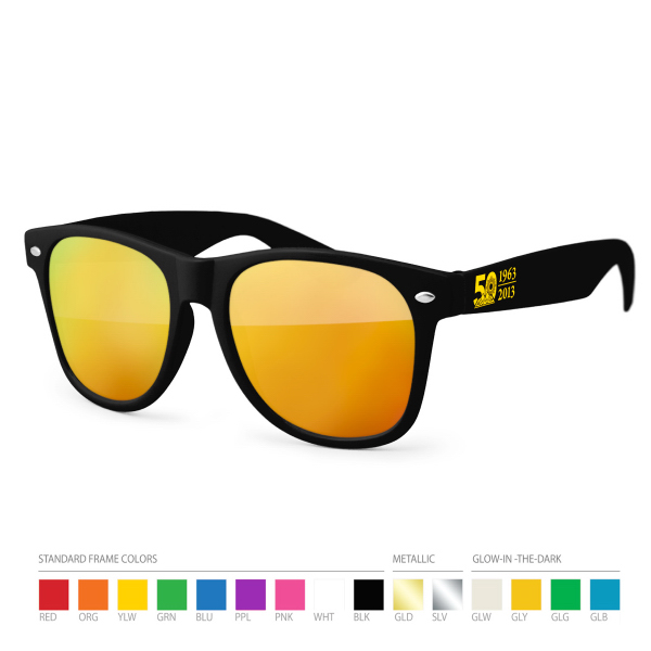 Customized Warm Tone Mirror Wayfarer Sunglasses with Side Imprint