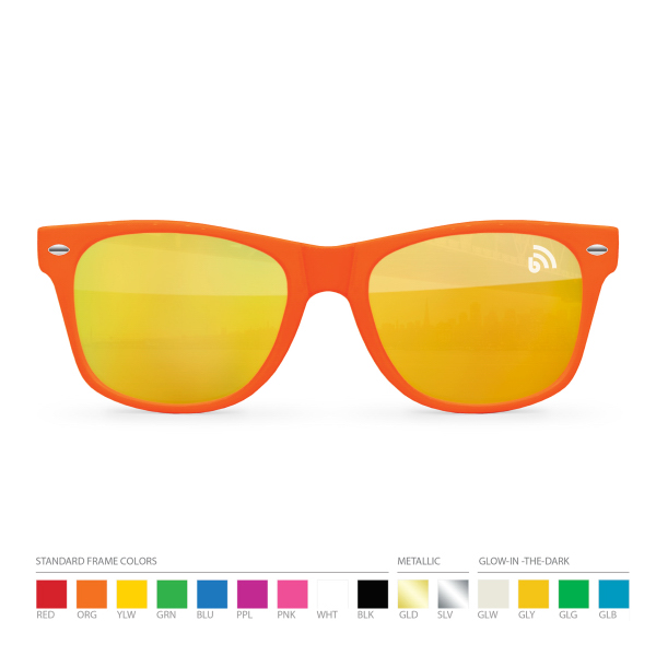 Customized Warm Tone Mirror Wayfarer Sunglasses with Silk Lens Imprint