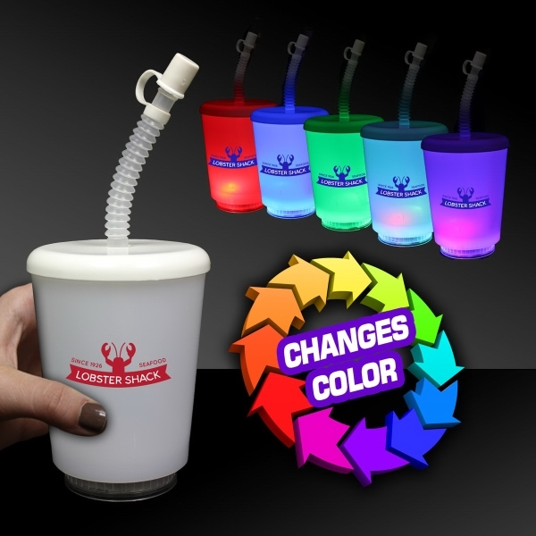 Personalized 12 Ounce LED Cup with Lid and Straw