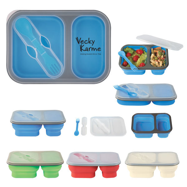 Customized Collapsible 2-Section Food Container with Dual Utensil