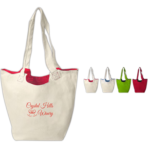 Imprinted Reversible Hobo Tote With Zipper Pocket