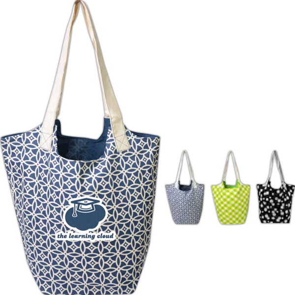 Customized Printed Reversible Hobo Tote With Zipper Pocket