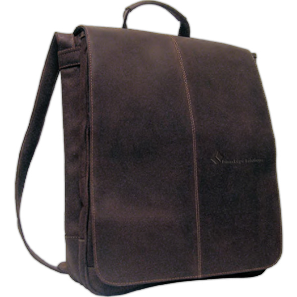"""Customized Distressed Leather 17"""" Laptop Messenger Briefcase"""