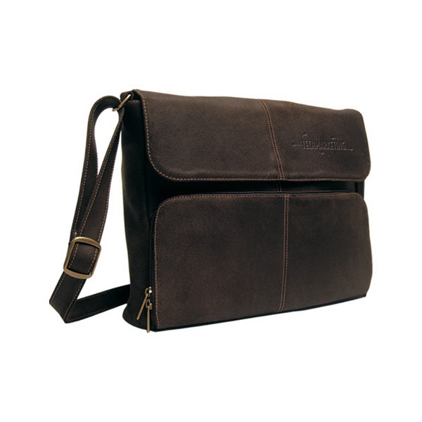 Personalized Distressed Leather 1/4 Flap Messenger Briefcase