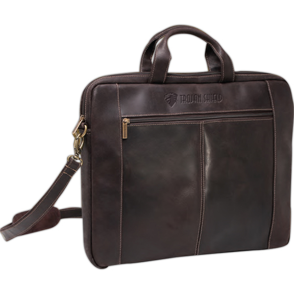 "Printed Distressed Leather 17"" Slim Briefcase"