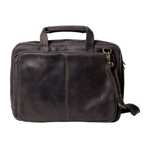 Printed Distressed Leather Laptop Briefcase
