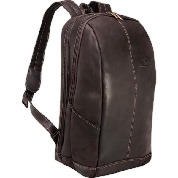 "Imprinted Distressed Leather 17"" Laptop Backpack"