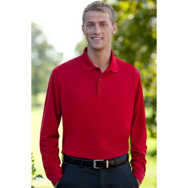 Customized Vansport (TM) Omega Long Sleeve Solid Mesh Tech Polo