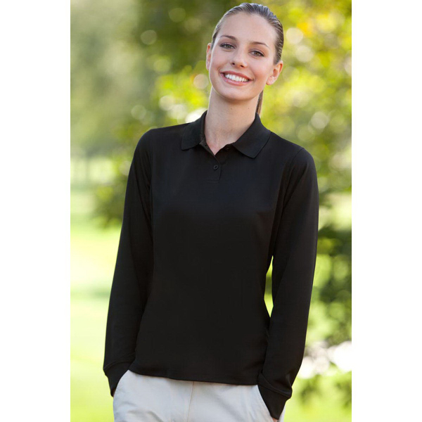 Personalized Women's Vansport (TM) Omega Long Sleeve Solid Mesh Tech Polo