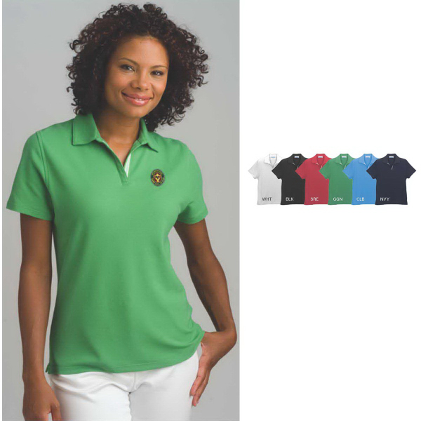 Printed Women's Vansport (TM) Double-Tuck Pique Polo