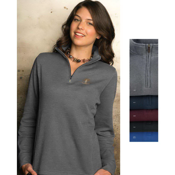 Promotional Women's 1/4 Zip Flat-Back Rib Pullover