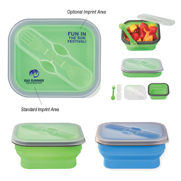 Personalized Collapsible Food Container With Dual Utensil