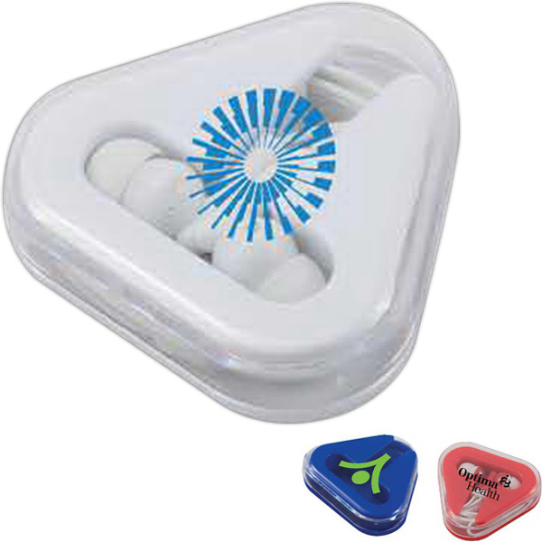 Promotional Ear Buds in Triangular Case