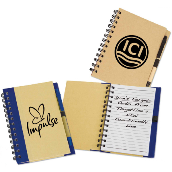 Imprinted Eco Spiral Notebook with Eco Paper Barrel Pen