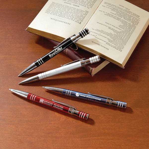 Printed Newport Metal Push Action Pen
