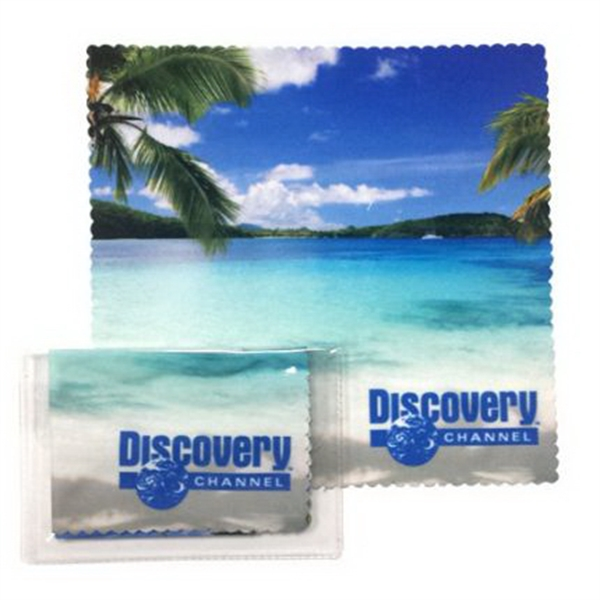 "Imprinted Microfiber cloth 6"" x 6"" in clear pouch"