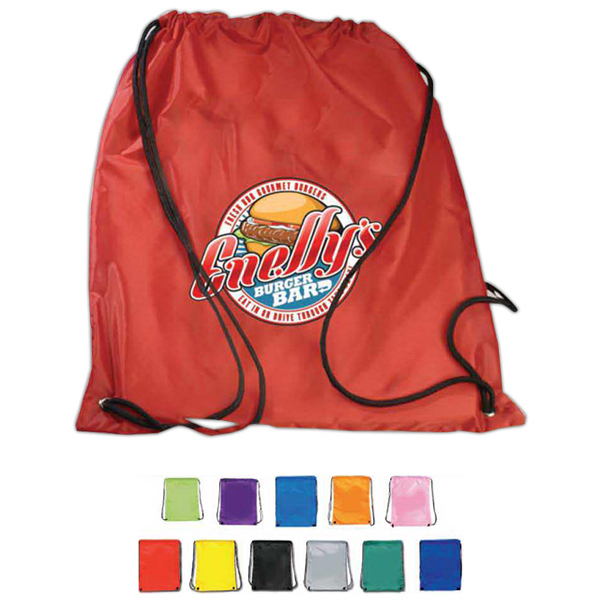 Imprinted Nylon Drawstring Backpack