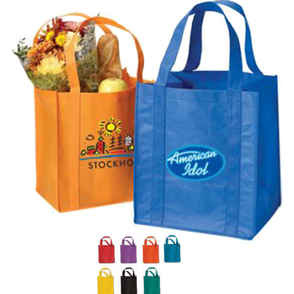 "Printed Grocery Non Woven Tote Bag with 20"" Handles"