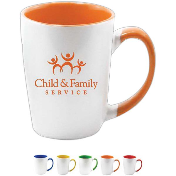 Printed 12 oz white outer with color inner and handle coffee mug