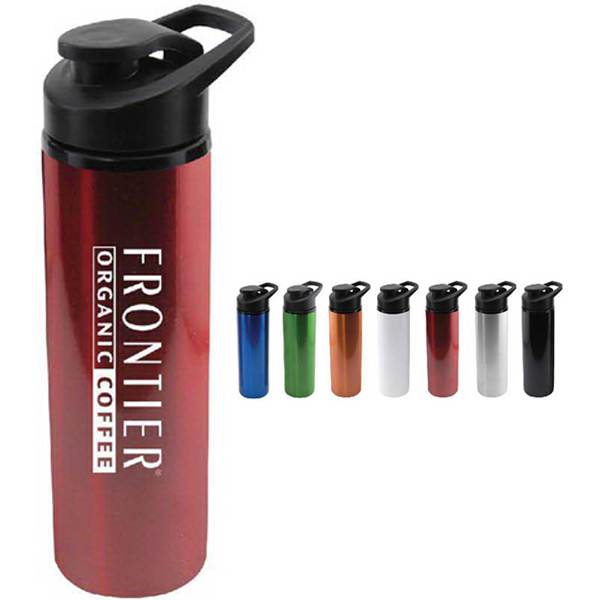 Custom 24 oz aluminum water bottle with pour cap