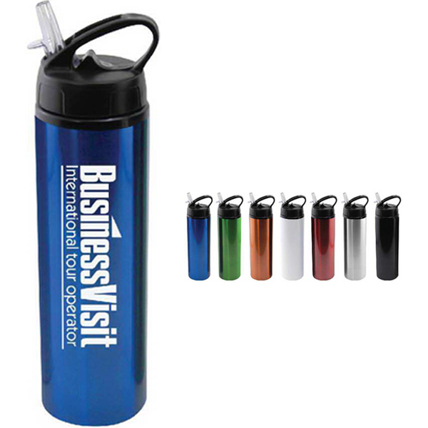Printed 24 oz aluminum water bottle with sports sipper flip straw