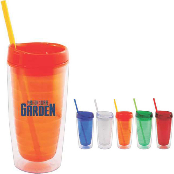 Imprinted 16 oz double wall acrylic tumbler with straw