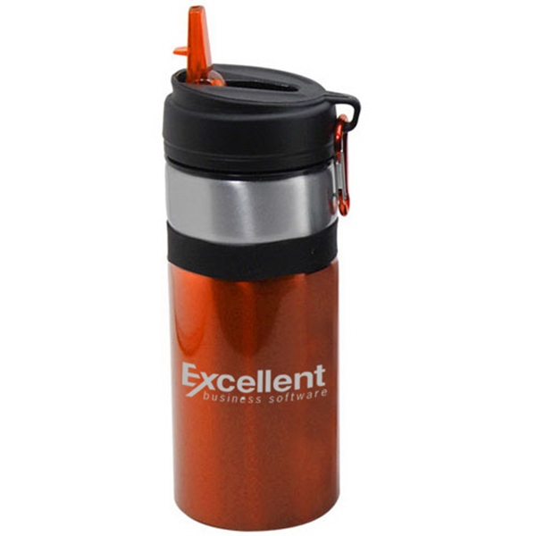 Printed 27 oz aluminum water bottle with straw