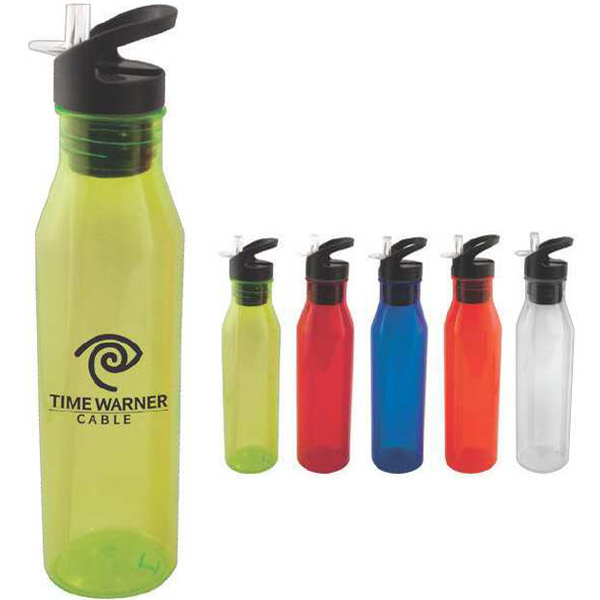 Promotional 24 oz water bottle with flip top straw