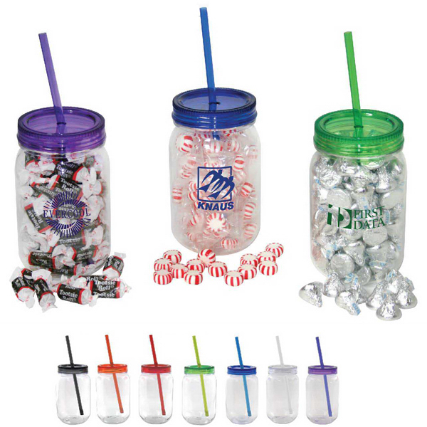 Personalized Mason jar with colored lid filled with Hershey kisses
