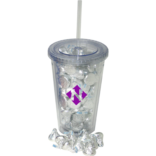 Customized 16 oz double wall tumbler filled with Hershey Kisses
