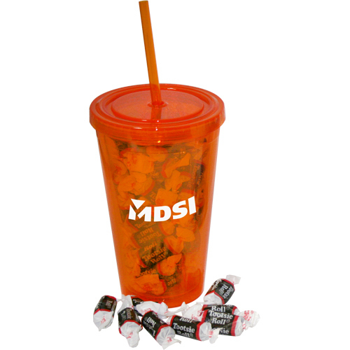 Printed 16 oz double wall tumbler filled with Tootsie Rolls