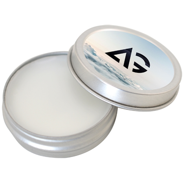 Imprinted Lip Balm SPF15 in Small Metal Tin