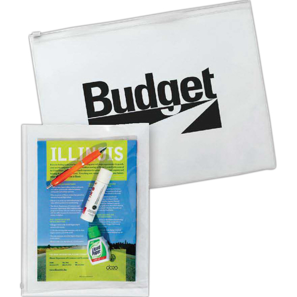 Promotional Vinyl Organizer Pouch with Zip Closure