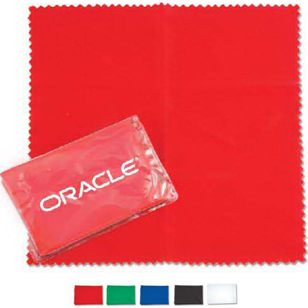 Printed Microfiber cleaning cloth in clear case