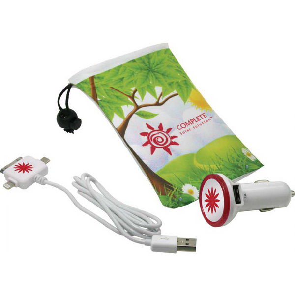 Promotional Albatross drawstring bag with USB car adapter & cord