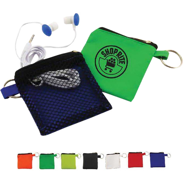 Printed Keyhain pouch with button style earbuds