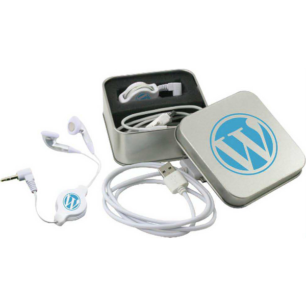 Custom Snipe retractable ear buds & USB cord in metal box