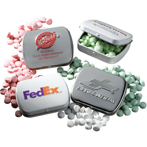 Imprinted Mints in Embossed Mint Tin