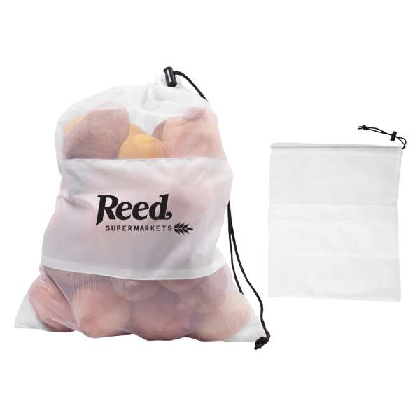 Printed Mesh Vegetable & Produce Drawcord Bag