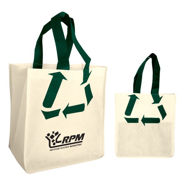 Imprinted Recycle Symbol Non Woven Shopping Tote