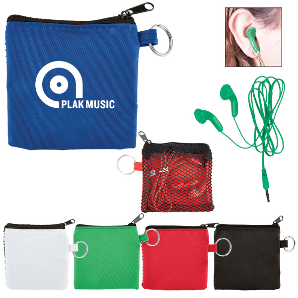 Customized Ear Buds in Zip Pouch