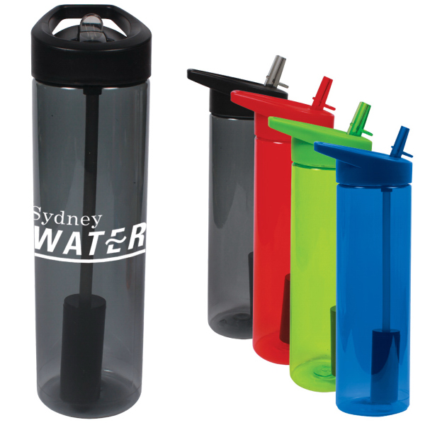 Printed 20 oz. MS Plastic filter bottle with flip straw