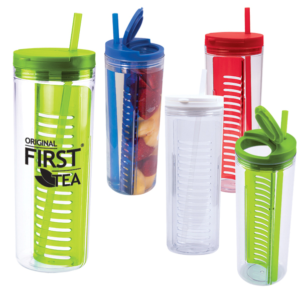 Imprinted 20 oz. Fruit Infusion Straw Tumbler