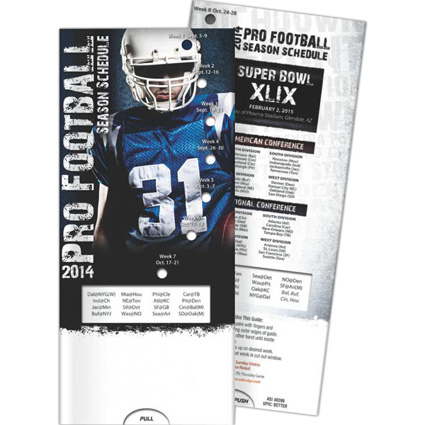 Imprinted Pocket Slider - Pro Football: 2014 Season Schedule