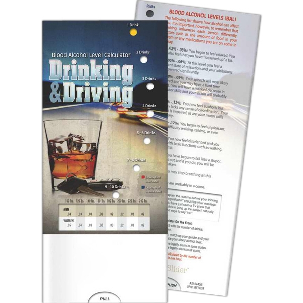 Imprinted Pocket Slider - Drinking and Driving: Blood Alcohol Level Ca