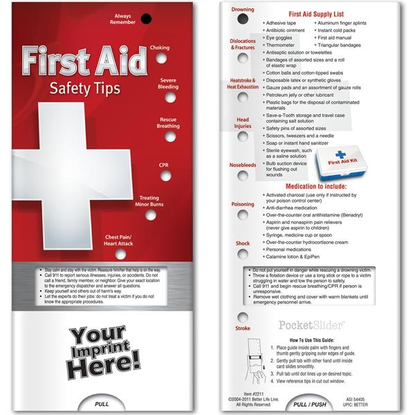 Custom Pocket Slider - First Aid: Safety Tips